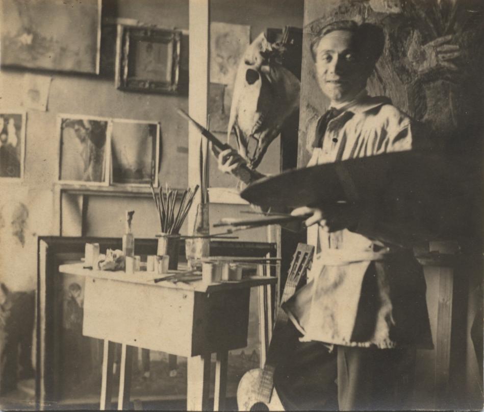 Immagine dell'artista nel suo studio. Anni 20.
